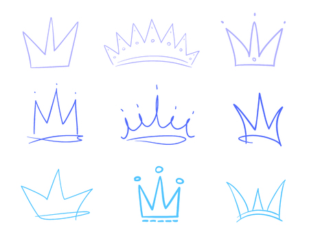 Set of abstract multicolored crowns on isolated white. Signs for design. Hand drawn simple objects. Line art. Colorful illustration. Sketchy elements for posters and flyers Illustration
