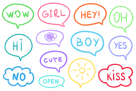 Set of hand drawn think and talk speech bubbles. Abstract symbols on white. Line art. Colored illustration