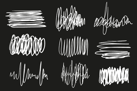 Hand drawn underlines on black. Abstract backgrounds with array of lines. Stroke chaotic patterns. Black and white illustration. Sketchy elements for design Çizim