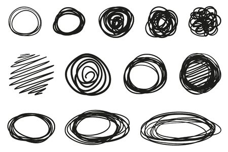 Hand drawn geometric shapes on isolated white background. Abstract symbols. Wavy tangled backdrops. Elements for posters and flyers. Black and white illustration