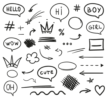 Infographic elements on isolated white background. Hand drawn simple signs. Line art. Set of different shapes. Black and white illustration. Doodles for artwork