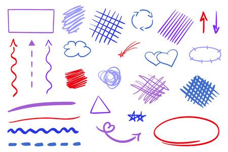 Elementi di infografica su sfondo di isolamento. Insieme colorato di segni abbozzati. Forme semplici disegnate a mano. Linea artistica. Frecce astratte. Simboli per il lavoro