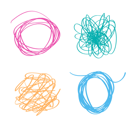 Set of colored tangled shapes on white. Chaos patterns. Scribble sketches. Colorful backgrounds with array of lines. Line art creation. Image for design Illusztráció
