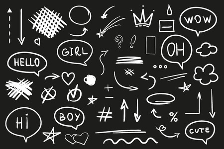 Hand drawn abstract signs and shapes on black. Grungy symbols with array of lines. Stroke chaotic patterns. Black and white illustration. Sketchy elements for design Vettoriali