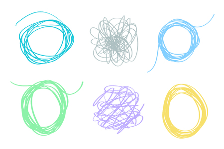 Set of colored tangled shapes on white. Chaos patterns. Scribble sketches. Abstract backgrounds with array of lines. Line art creation Ilustrace