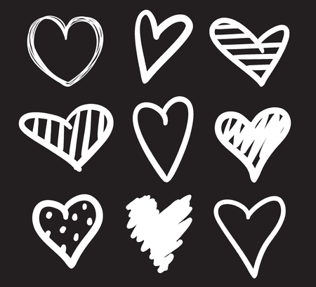Hand drawn abstract hearts on black background. Set of love signs. Unique illustration for design. Line art creation. Black and white illustration Illustration