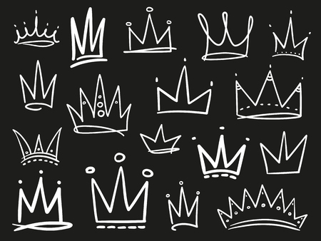 Collection of crowns on black. Hand drawn abstract objects. Line art. Black and white illustration Vektoros illusztráció