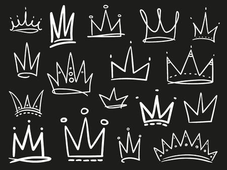 Sammlung von Kronen auf Schwarz. Handgezeichnete abstrakte Objekte. Strichzeichnungen. Schwarz-Weiß-Abbildung Vektorgrafik