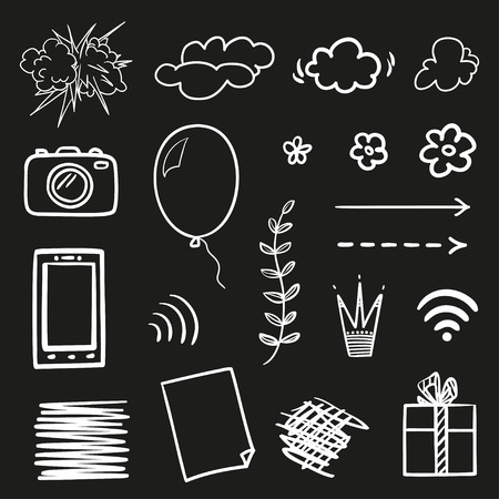 Infographic elements on isolated black background. Hand drawn simple shapes. Line art. Set of different signs. Black and white illustration. Sketchy doodles for work Illustration