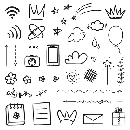 Hand drawn elements on isolated white background. Simple sketched signs. Line art. Set of different shapes. Black and white illustration. Doodles for artwork