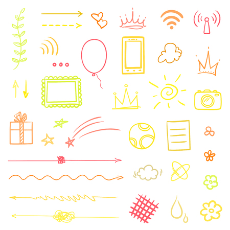 Multicolored infographic elements on isolated white background. Hand drawn colored shapes on white. Line art. Set of different signs. Colorful illustration