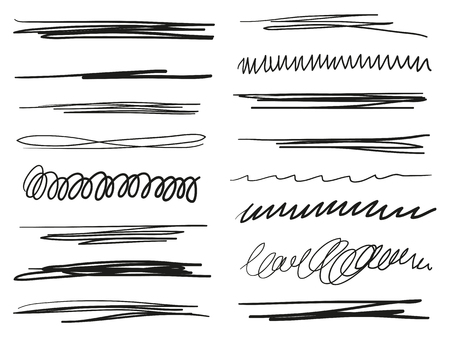 Hand drawn underlines on white. Abstract backgrounds with array of lines. Stroke chaotic patterns. Black and white illustration. Sketchy elements Çizim