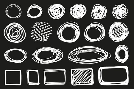 Hand drawn abstract geometric shapes on black. Grungy backgrounds with array of lines. Stroke chaotic patterns. Black and white illustration. Sketchy elements for design Illustration