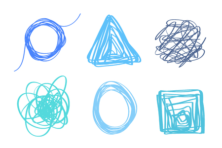 Set of geometric tangled shapes on white. Chaos patterns. Scribble sketches. Colorful backgrounds with array of lines. Image for design Illusztráció