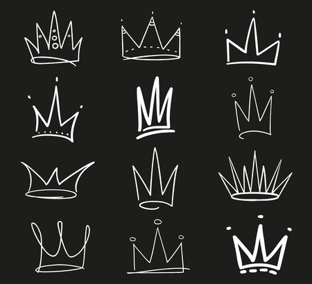 Collection of crowns on black. Hand drawn abstract objects. Line art. Black and white illustration. Sketchy elements