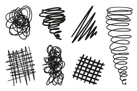 Formas caóticas dibujadas a mano sobre fondo blanco aislado. Símbolos abstractos. Telones de fondo ondulados enredados. Elementos para carteles y volantes. Ilustración en blanco y negro Ilustración de vector