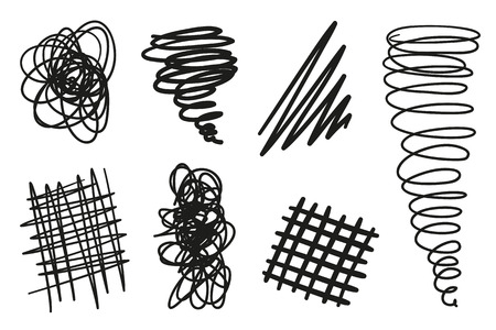 Hand drawn chaotic shapes on isolated white background. Abstract symbols. Wavy tangled backdrops. Elements for posters and flyers. Black and white illustration