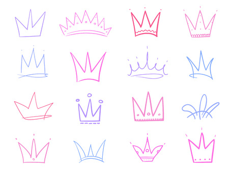 Set of abstract multicolored crowns on isolated white. Signs for design. Hand drawn simple objects. Colorful illustration. Sketchy elements