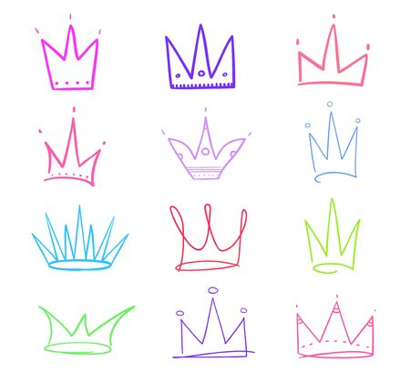 Set of abstract multicolored crowns on isolated white. Signs for design. Hand drawn simple objects. Line art. Colorful illustration. Sketchy elements Stock Illustratie