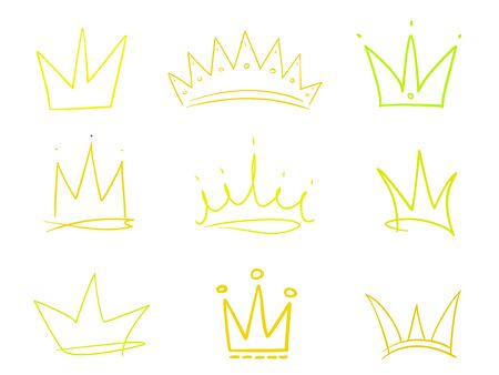 Set of crowns on white. Signs for design. Hand drawn simple objects. Line art. Colorful illustration. Sketchy elements for posters and flyers Stock Illustratie