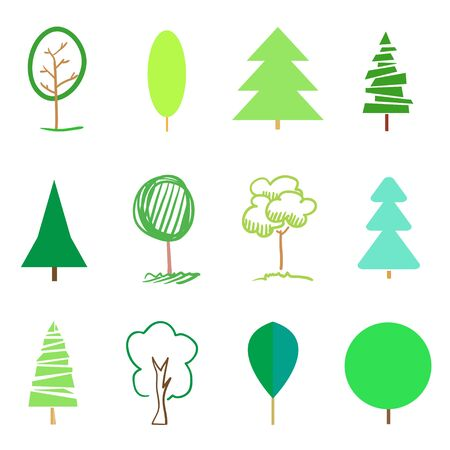 Green trees and christmas trees on white. Set for design. Objects of nature for polygraphy, flyers, t-shirts and banners