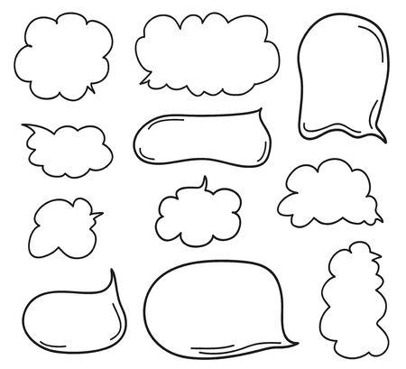 Elementi infografici disegnati a mano su sfondo di isolamento. Set di fumetti pensa e parla. Scarabocchi su bianco. Illustrazione in bianco e nero