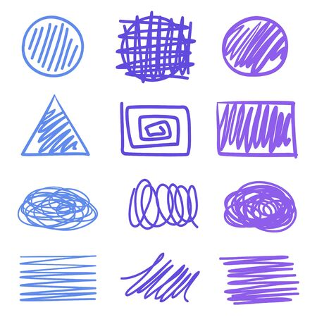 Colored hatching geometric shapes with array of lines on isolated white. Wavy samples. Hand drawn tangled patterns. Colorful illustration. Sketchy elements for design