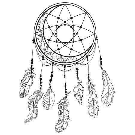 Atrapasueños. Plumas. Símbolo místico abstracto. Diseño de relajación espiritual para adultos. Creación de arte lineal. Ilustración en blanco y negro para colorear