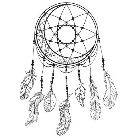 Dreamcatcher. Feathers. Abstract mystic symbol. Design for spiritual relaxation for adults. Line art creation. Black and white illustration for coloring