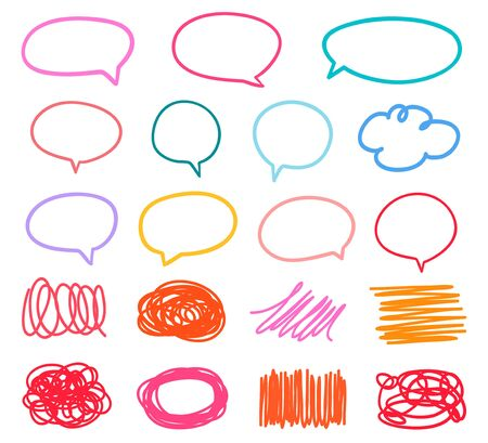 Colored sketchy shapes on white. Set of hand drawn think and talk speech bubbles. Scribble colorful backgrounds with array of lines. Line art creation