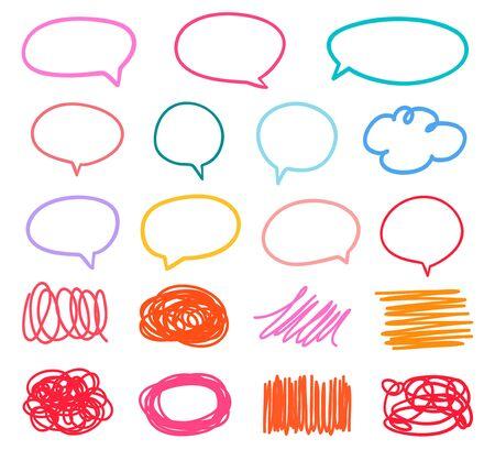 Formas esquemáticas coloreadas en blanco. Conjunto de burbujas de discurso de pensar y hablar dibujadas a mano. Garabatear fondos coloridos con una variedad de líneas. Creación de arte lineal