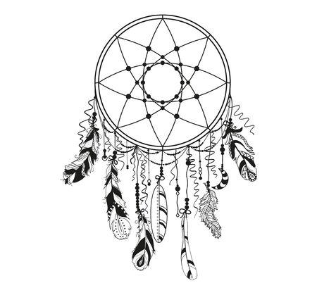 Atrapasueños en blanco. Símbolo místico abstracto. Diseño de relajación espiritual para adultos. Creación de arte lineal. Ilustración en blanco y negro