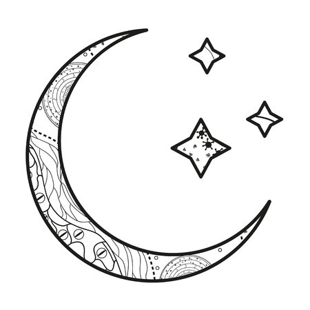 Crescent moon with stars with abstract patterns on isolation background. Design for spiritual relaxation for adults. Black and white illustration for anti stress colouring page