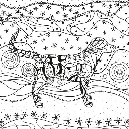 Abstract eastern pattern. Square ornate wallpaper with dog. Hand drawn waved ornaments on white. Intricate patterns on isolated background. Design for spiritual relaxation for adults. Line art