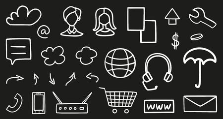 Hand drawn technology elements on isolated black background. Simple things. Line art. Set of different symbols. Black and white illustration. Doodles for your design Ilustração