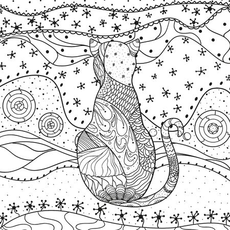 Abstract cat. Hand drawn patterns on isolation background. Design for spiritual relaxation for adults. Black and white illustration for anti stress colouring page