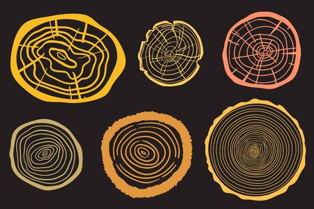 Colorful tree rings on black. Set of objects on isolation background. Print for polygraphy, posters, shirts and textiles Stock Illustratie