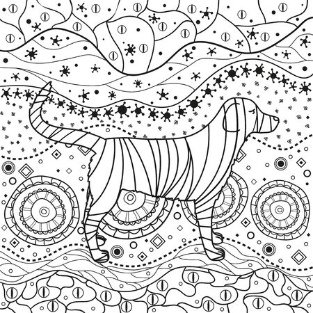 Abstract dog on pattern. Hand drawn waved ornaments on white. Intricate patterns on isolated background. Design for spiritual relaxation for adults. Black and white illustration Ilustracja