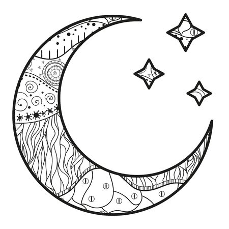 Crescent moon and stars with abstract patterns on isolation background. Design for spiritual relaxation for adults. Line art creation. Black and white illustration for anti stress colouring page