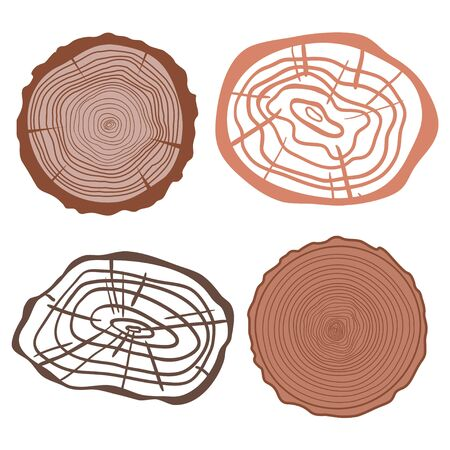 Tree rings on isolated white. Set of objects on isolation background. Print for your design