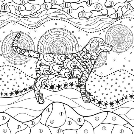 Abstract dog on pattern. Hand drawn waved ornaments on white. Design for spiritual relaxation for adults. Black and white illustration