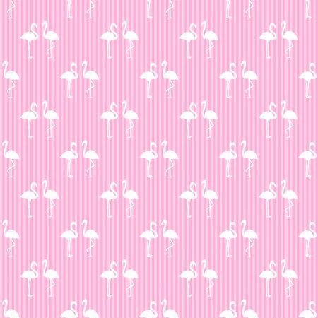 Seamless striped wallpaper with flamingos. Image for polygraphy, shirts and textiles. Abstract line texture. Pattern for design