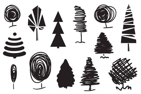 Trees on white. Set for design on isolated background. Geometric art. Objects for polygraphy, posters, t-shirts and banners. Black and white illustration