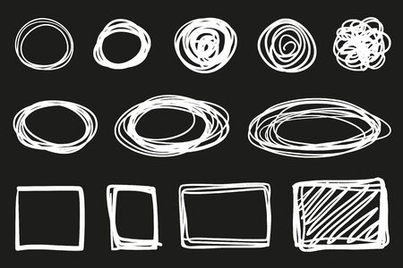 Hand drawn hatching shapes on isolated black background. Wavy tangled doodles. Black and white illustration