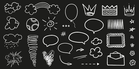 Collection of different objects on black. Hand drawn abstract symbols. Line art. Black and white illustration. Sketchy elements Banque d'images - 130483324