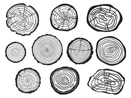 Anelli di albero su bianco. Set di sezione trasversale dell'albero. Contorno per poligrafia, striscioni, poster e altro. Illustrazione in bianco e nero per lavoro