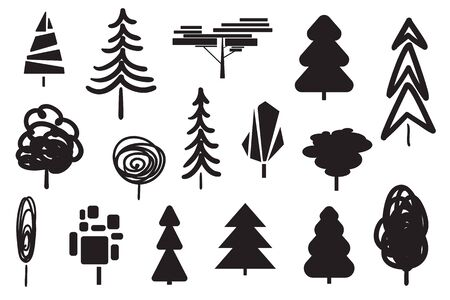 Monochrome trees and christmas trees on white. Set for icons on isolated background. Geometric art. Objects for polygraphy, posters, t-shirts and textiles. Black and white illustration
