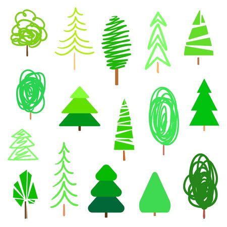 Green trees and christmas trees on white. Set for design. Objects of nature for polygraphy, flyers, t-shirts and banners Banco de Imagens - 130483459