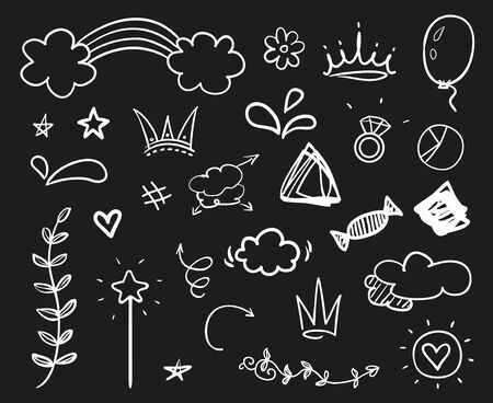 Hand drawn signs on black. Abstract symbols. Black and white illustration. Sketchy elements for design