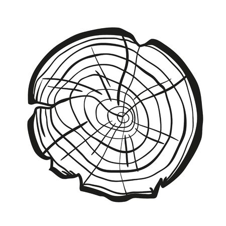 Tree rings on white. Wood cross section. Print for polygraphy, banners, posters and other. Black and white illustration for your artwork